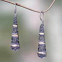 Gold accent dangle earrings, 'Ubud Beauty' - Balinese Fair Trade 18k Gold Accent Silver Dangle Earrings