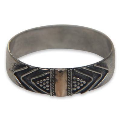 Gold accent band ring, 'Flow of Time' - Balinese Silver Band Ring with 18k Gold Accents