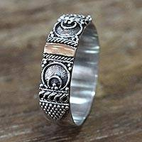 Gold accent band ring, 'Love Vow' - Ornate Balinese Artisan Crafted Ring with 18k Gold