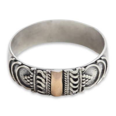 Gold accent band ring, 'Miraculous Love' - 18k Gold Accent Balinese Artisan Crafted Ring