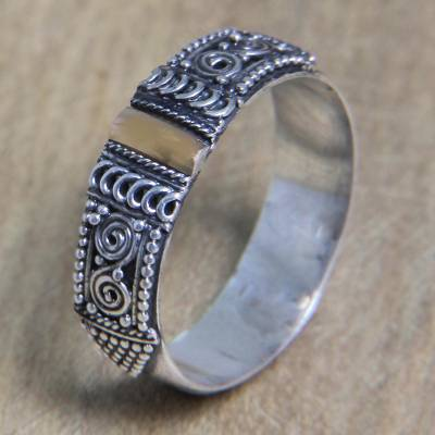 cheap jewelry - Handcrafted Silver Ring from Bali with 18k Gold Accent