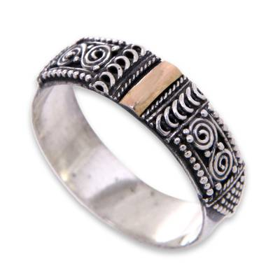 Gold accent band ring, 'Beautiful Enigma' - Handcrafted Silver Ring from Bali with 18k Gold Accent