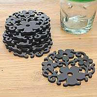 Wood coasters, 'Black Bali Blossoms' (set of 6) - Black Floral Motif Wood Cutout Coasters (set of 6)