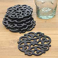 Wood coasters, 'Fern Shadow' (set of 6) - Fern Motif Black Wood Coasters from Bali (Set of 6)