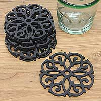 Wood coasters, 'Ebony Arabesque' (set of 6) - Black Wood Fern Motif Coasters from Bali (Set of 6)