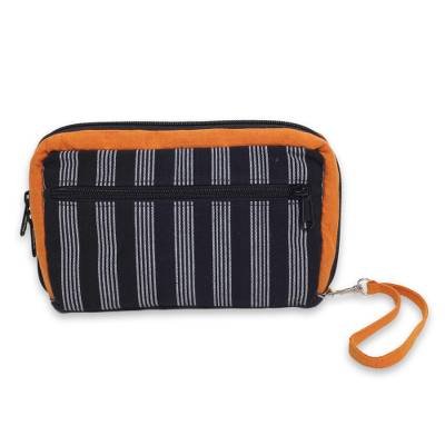 Multi Pocket Wristlet Bag Hand Woven Monochrome Stripes