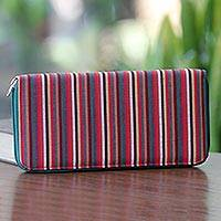 Cotton wallet, 'Dark Green Vertical Rainbow' - Hand Woven Cotton Striped Purse Multi Pocket Wallet