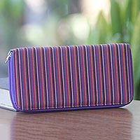 Cotton wallet, 'Purple Vertical Rainbow' - Multi Pocket Wallet in Hand Woven Striped Cotton