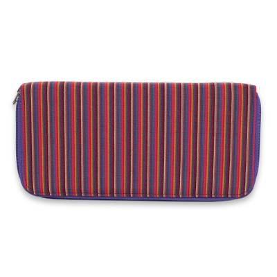 Multi Pocket Wallet in Hand Woven Striped Cotton
