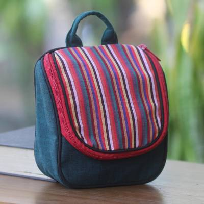 Cotton toiletry bag, 'Green Jogja' - Green Cotton Hanging Toiletry Bag with Multi Color Flap