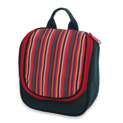 Green Cotton Hanging Toiletry Bag with Multi Color Flap