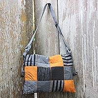 Cotton shoulder bag, 'Legendary Grey' - Black Grey Yellow Patchwork Hand Woven Cotton Shoulder Bag