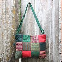 Cotton shoulder bag, 'Legendary Green' - Green Multicolor Hand Woven Patchwork Shoulder Bag