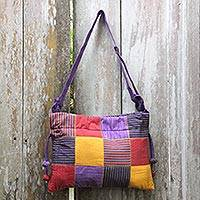 Cotton shoulder bag, 'Legendary Purple' - Hand Woven Cotton Patchwork Shoulder Bag from Bali