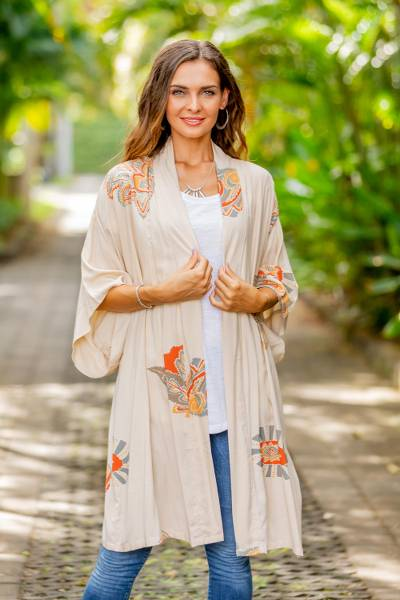 Rayon robe, 'Evening Intuition' - Women's Handcrafted Short Rayon Robe