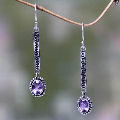 Amethyst dangle earrings, 'Falling Raindrops' - Handcrafted Balinese Amethyst and 925 Silver Earrings