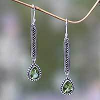Peridot dangle earrings, 'Falling Raindrops' - Balinese Peridot and Silver Artisan Crafted Earrings