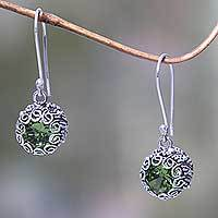 Peridot dangle earrings, 'Sanur Moon' - Bali Artisan Crafted Silver and Peridot Earrings