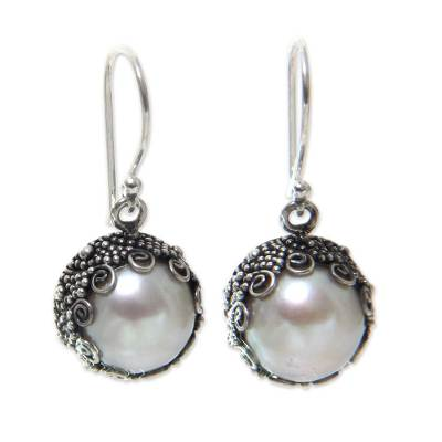 Bali Artisan Crafted White Pearl Earrings