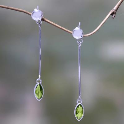 Peridot dangle earrings, 'Lone Leaf' - Artisan Crafted Balinese Silver Earrings with Peridot
