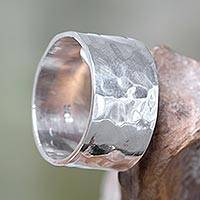 Sterling silver band ring, 'Fusion'