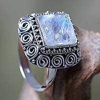 Rainbow moonstone cocktail ring, 'Celuk Treasure'