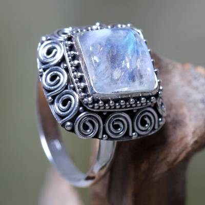 Rainbow moonstone cocktail ring, 'Celuk Treasure' - Artisan Crafted Sterling Silver Ring with Rainbow Moonstone