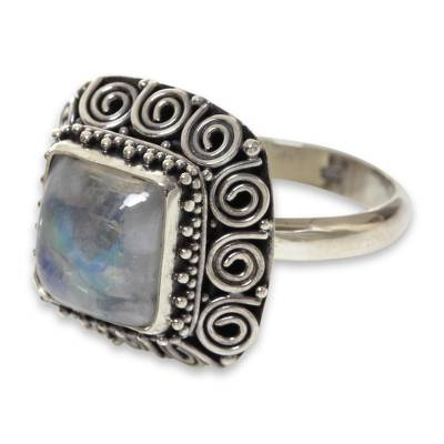 Artisan Crafted Sterling Silver Ring with Rainbow Moonstone
