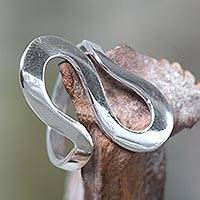 Sterling silver band ring, 'Almost Infinite'