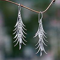 Sterling silver waterfall earrings, 'Ginger Flower' - Handcrafted Balinese Silver Waterfall Earrings