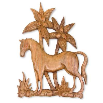 Wood relief panel, 'Sumba Pony' - Artisan Carved Horse Motif Balinese Relief Sculpture