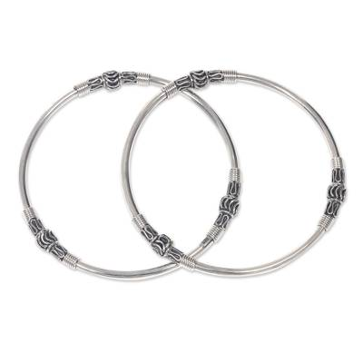 Sterling silver bangle bracelets, 'Kintamani Moon' (pair) - Artisan Crafted Sterling Silver Bangles (Pair)
