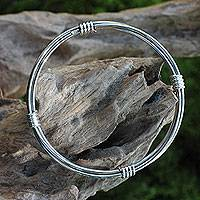 Sterling silver bangle bracelet, 'In Unity' - Modern Balinese Handcrafted Sterling Silver Bangle Bracelet