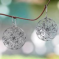 Sterling silver dangle earrings, 'Whispering Tendrils' - Artisan Crafted Sterling Silver Dangle Earrings