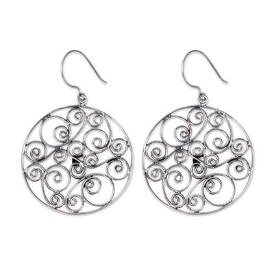 Sterling silver dangle earrings, 'Whispering Tendrils' - Artisan Crafted Sterling Silver Dangle Earrings