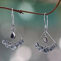 Garnet chandelier earrings, 'Fabulously Feminine' - Sterling Silver Chandelier Earrings with Garnet