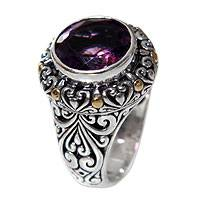 Gold accent amethyst cocktail ring, 'Sukawati Romance' - Gold Accent Handcrafted Silver Cocktail Ring with Amethyst