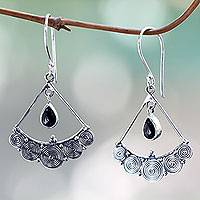 Onyx chandelier earrings, 'Fabulously Feminine' - Onyx on Sterling Silver Earrings Artisan Jewelry from Bali