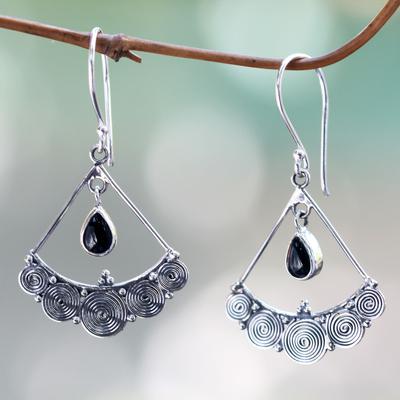 Novica Blue topaz chandelier earrings, Fabulously Feminine
