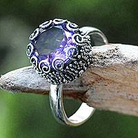 Amethyst cocktail ring, 'Sanur Moon'