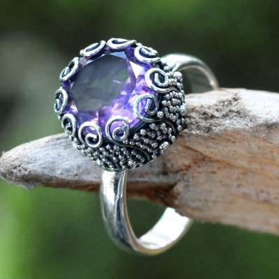 Amethyst cocktail ring, 'Sanur Moon' - Artisan Crafted Sterling Silver and Amethyst Ring
