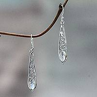 Rainbow moonstone dangle earrings, 'Jasmine Dew'