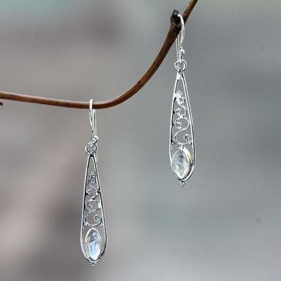 Rainbow moonstone dangle earrings, 'Jasmine Dew' - Artisan Crafted Rainbow Moonstone Silver Dangle Earrings