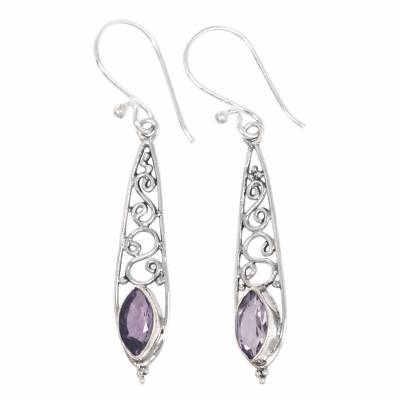 Artisan Crafted Amethyst and Silver Dangle Earrings