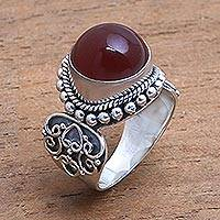 Carnelian cocktail ring, 'Incandescent Moon' - Artisan Crafted Carnelian and Sterling Silver Ring from Bali