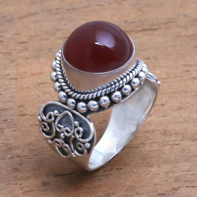 rose gold and silver bracelet - Artisan Crafted Carnelian and Sterling Silver Ring from Bali
