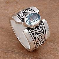 Featured review for Blue topaz single stone ring, Blue Karma
