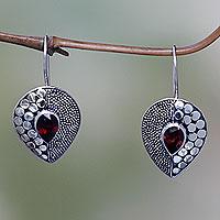 Garnet drop earrings, 'Scarlet Sincerity' - Fair Trade Garnet and Silver Earrings from Bali