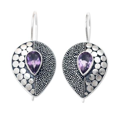 Amethyst drop earrings, 'Violet Sincerity' - Amethyst and Sterling Silver Earrings from Bali