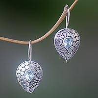 Blue topaz drop earrings, 'Azure Sincerity' - Balinese Fair Trade Silver and Blue Topaz Earrings